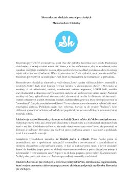 Slovensko pre všetkých: naozaj pre všetkých Memorandum Iniciatívy