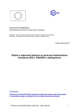 Otázky a odpovede týkajúce sa správnej implementácie nariadenia