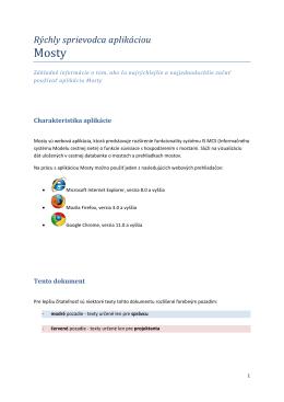 Rýchly sprievodca - Portál Informačného systému Modelu cestnej siete