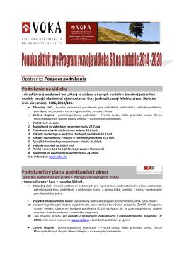 Ponuka aktivít pre Program rozvoja vidieka SR na obdobie 2014