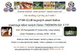 Star-club bojových umení Košice organizuje nábor nových členov