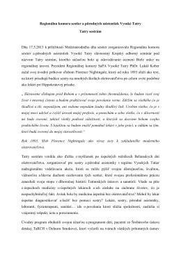 Regionálna komora sestier a pôrodných asistentiek Vysoké Tatry