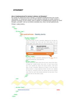 Ako si implementovať in-textovú reklamu od Etargetu? Na rozdiel od