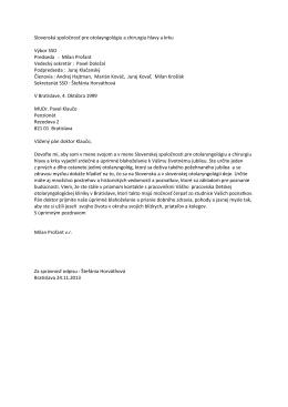 list MUDr. Klauču - Slovenská spoločnosť pre ORL a chirurgiu hlavy