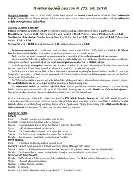 Začiatky sv. omší a obradov: Bošáca: Pondelok až piatok o 18.00