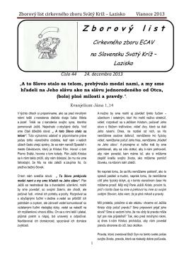 Zborový list cirkevného zboru Svätý Kríž – Lazisko Vianoce 2013