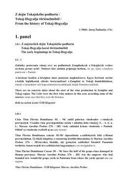 Z dejín Tokajského podhoria - Bor és pálinkaturizmus a történelmi
