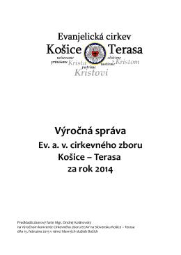 výročná správa za rok 2014 - Evanjelický cirkevný zbor av Košice