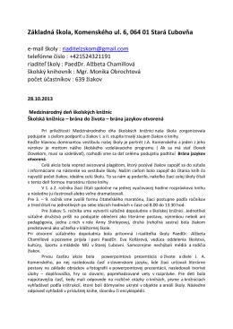 brána do života ZŠ - Základná škola Komenského, Stará Ľubovňa