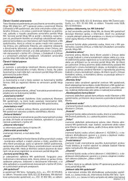 Všeobecné podmienky pre používanie servisného portálu Moja NN
