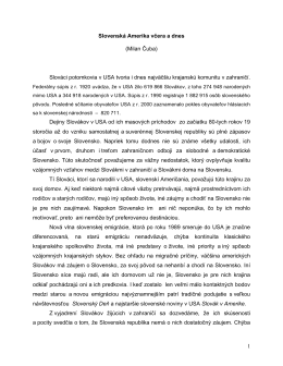 1 Slovenská Amerika včera a dnes (Milan Čuba) Slováci potomkovia