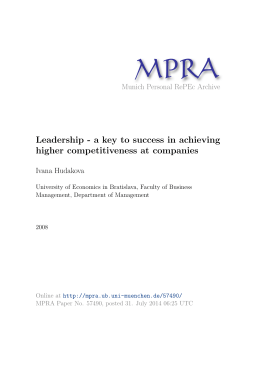 Leadership - a key to success in achieving higher competitiveness