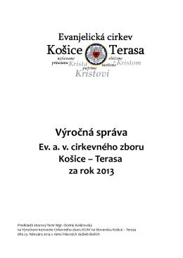 Výročná správa za rok 2013 - Evanjelický cirkevný zbor av Košice