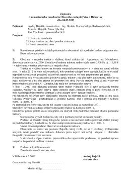 Zápisnica z mimoriadneho zasadnutia Obecného zastupiteľstva v
