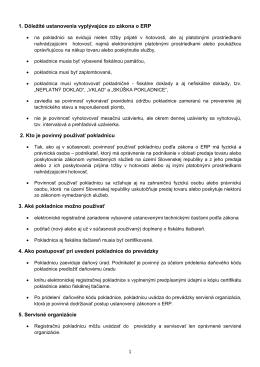 1. Dôležité ustanovenia vyplývajúce zo zákona o ERP 2. Kto je