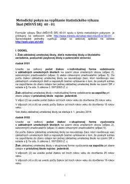 Metodický pokyn na vypĺňanie štatistického výkazu Škol (MŠVVŠ SR