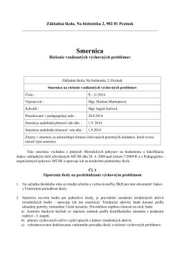 Smernica Š - 11/2014 - Riešenie vzniknutých výchovných problémov