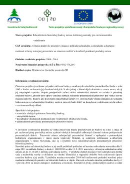 Plnenie projektu Rekonštrukcia historickej budovy múzea (súbor pdf