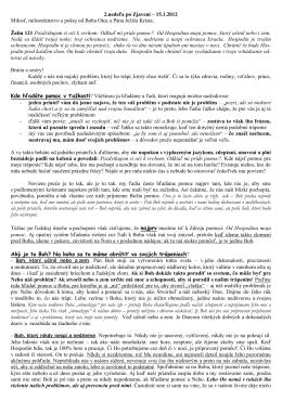 2.nedeľa po Zjavení – 15.1.2012 Milosť, milosrdenstvo a pokoj od