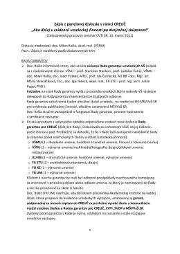 """Zápis z panelovej diskusie v rámci CREUČ """"Ako ďalej v evidencii"""