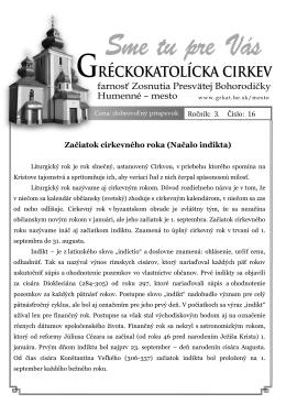 Sme tu pre vás 22/2010 Začiatok cirkevného roka (Načalo indikta)