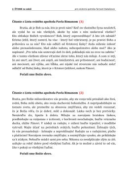 Čítanie z Listu svätého apoštola Pavla Rimanom (1) Bratia, ak je