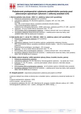 Požadované predoperačné vyšetrenia pediatrického pacienta pred
