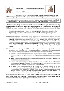 Informácie ZVB pred odpočtom vodomerov.