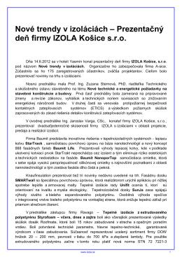 Nové trendy v izoláciách – Prezentačný deň firmy IZOLA Košice sro