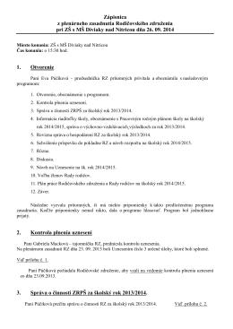 Zápisnica z plenárneho zasadnutia Rodičovského združenia pri ZŠ
