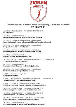 Sezóna 2010 - 2011 - Športový krasokorčuliarsky klub mesta Zvolen