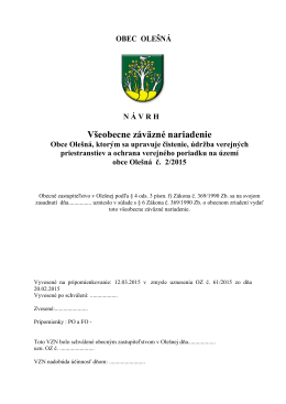 VZN obce Olešnáč. 2/2015, ktorým sa upravuje čistenie, údržba
