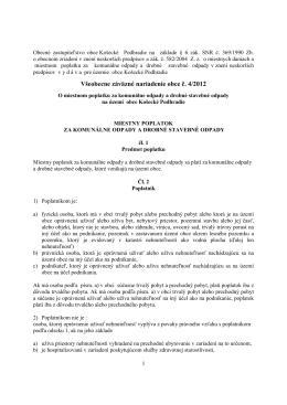 VZN č. 4/2012 o miestnom poplatku za komunálne odpady a drobné