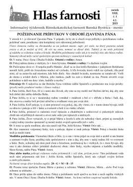 Hlas farnosti - Farnosť Nanebovzatia Panny Márie Banská Bystrica