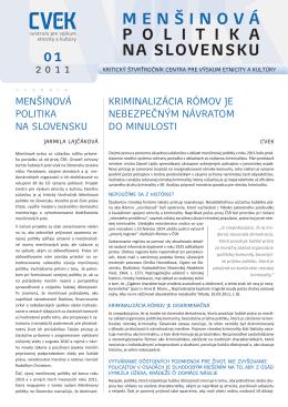 menšinová politika na SlovenSku - Centrum pre výskum etnicity a