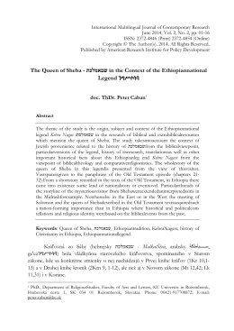 The Queen of Sheba - in the Context of the Ethiopiannational Legend