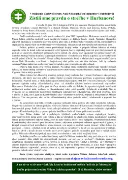 Vyhlásenie Ľudovej strany Naše Slovensko ku incidentu v Hurbanove: