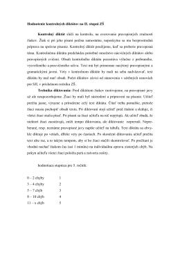 Hodnotenie kontrolných diktátov na II. stupni ZŠ Kontrolný diktát slúţi