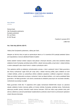 To Mr Richard Sulik, MEP, on the ECB`s banking supervision tasks