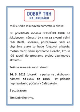 Jarná edícia Dobrého trhu na Jakubáku v sobotu 25. apríla 2015