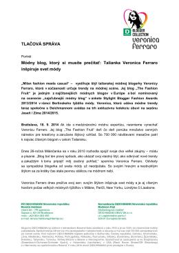 TLAČOVÁ SPRÁVA Módny blog, ktorý si musíte prečítať: Talianka