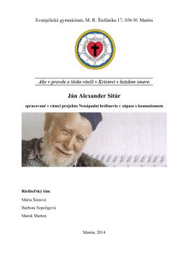 PDF dokument vytvorený študentmi o Jánovi Alexandrovi Sitárovi