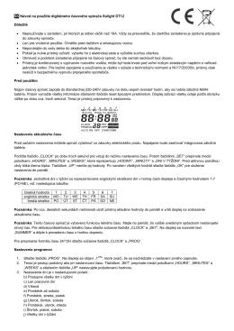 SK Návod na použitie digitálneho časového spínača Solight DT12