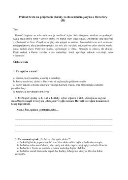 Príklady úloh zo slovenského jazyka a literatúry na prijímacie
