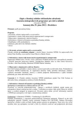 zápisnici TU - Asociácia nízkoprahových programov pre deti a mládež