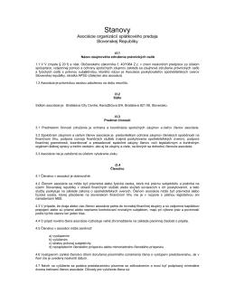 Stanovy APSÚ SR - Asociácia poskytovateľov spotrebiteľských úverov