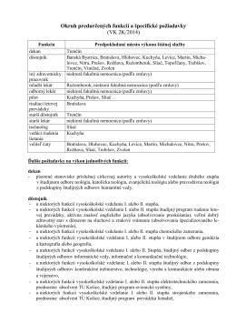 Okruh predurčených funkcií a špecifické požiadavky (VK 2K/2014)