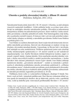 Uhorsko a podoby slovenskej identity v dlhom 19. storočí - Kor