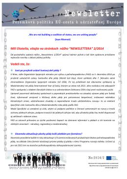 Newsletter č. 2 - Fakulta európskych štúdií a regionálneho rozvoja