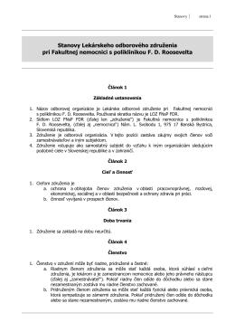 Stanovy Lekárskeho odborového združenia pri FNsP F. D. Roosvelta